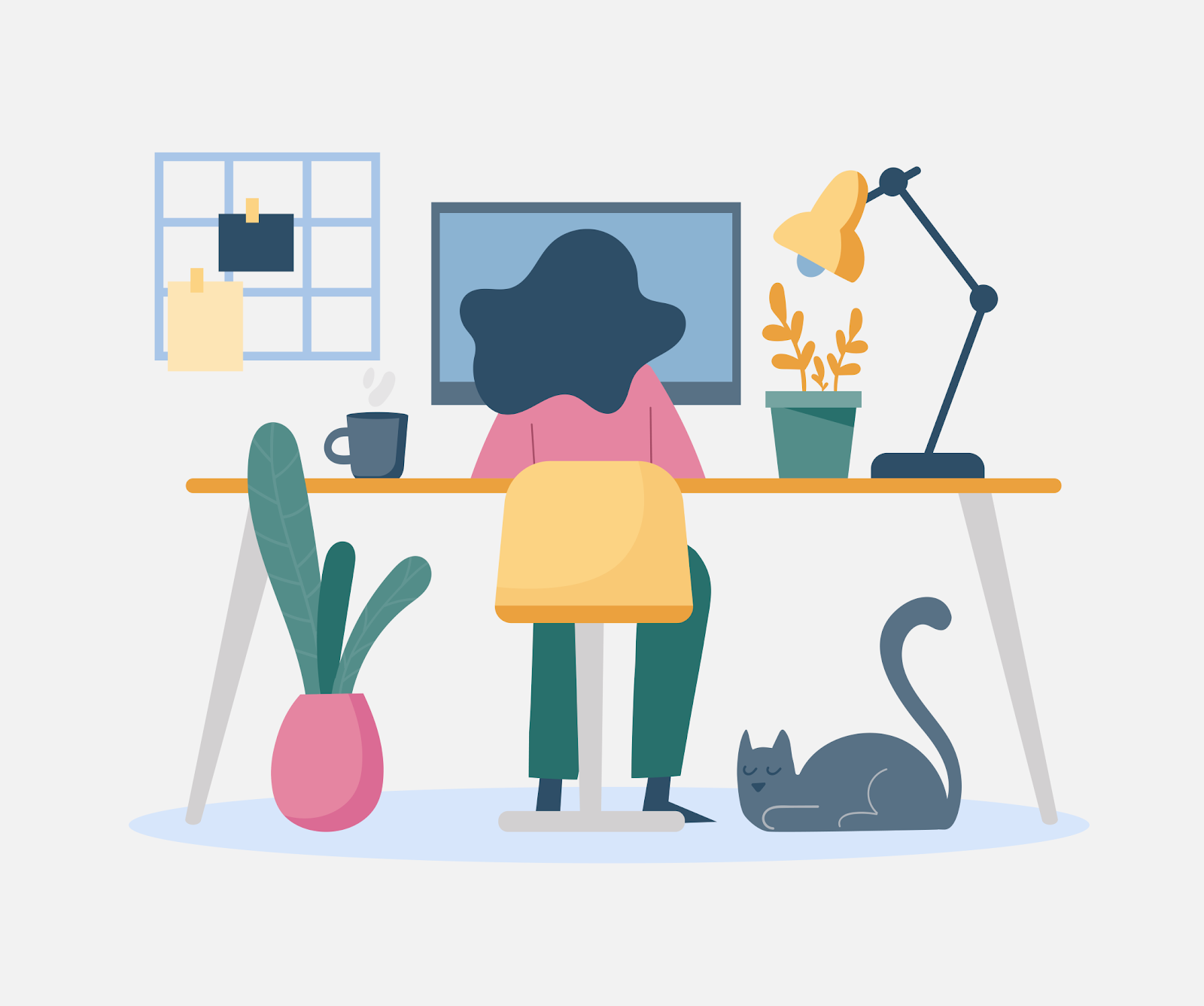 A graphic illustration of a woman working at a desk with a computer, lamp, coffee cup, and plant. The woman faces away from the picture towards the computer and has long dark hair and wears a pink sweater and green pants and next to her on the floor is a gray cat.